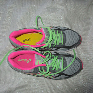 ASICS GEL FOUNDATION SHOES PINK NEON GREEN 9.5 D